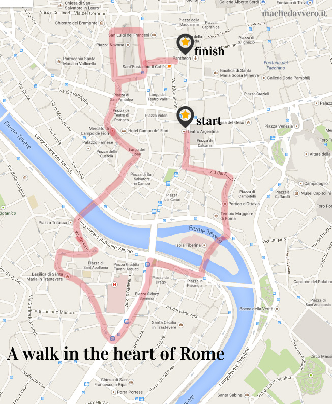 Map of walking tour of Rome